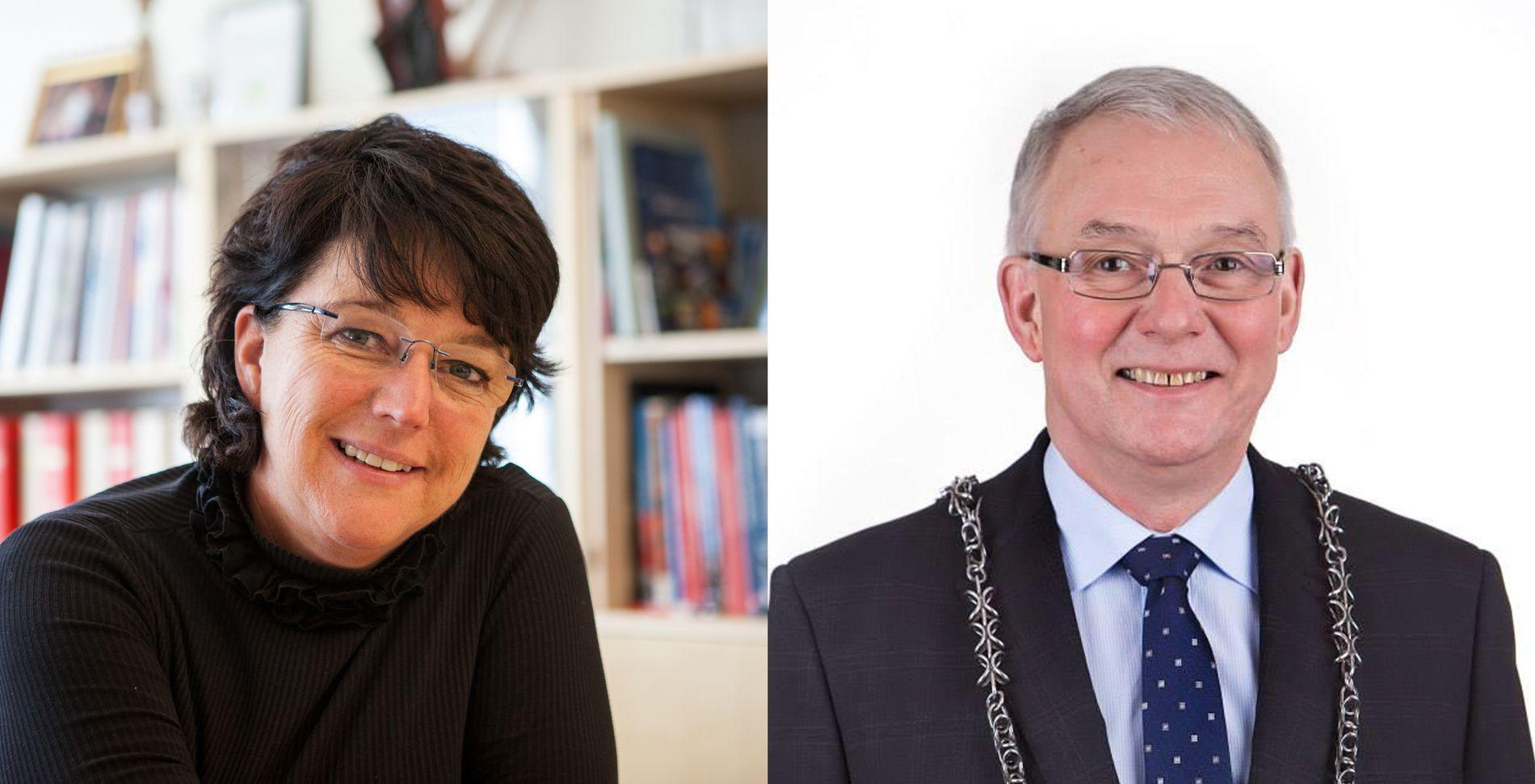 SPENT: Harstad-ordfører Marianne Bremnes (Ap) og Andøya-ordfører Jonni Solsvik (H).