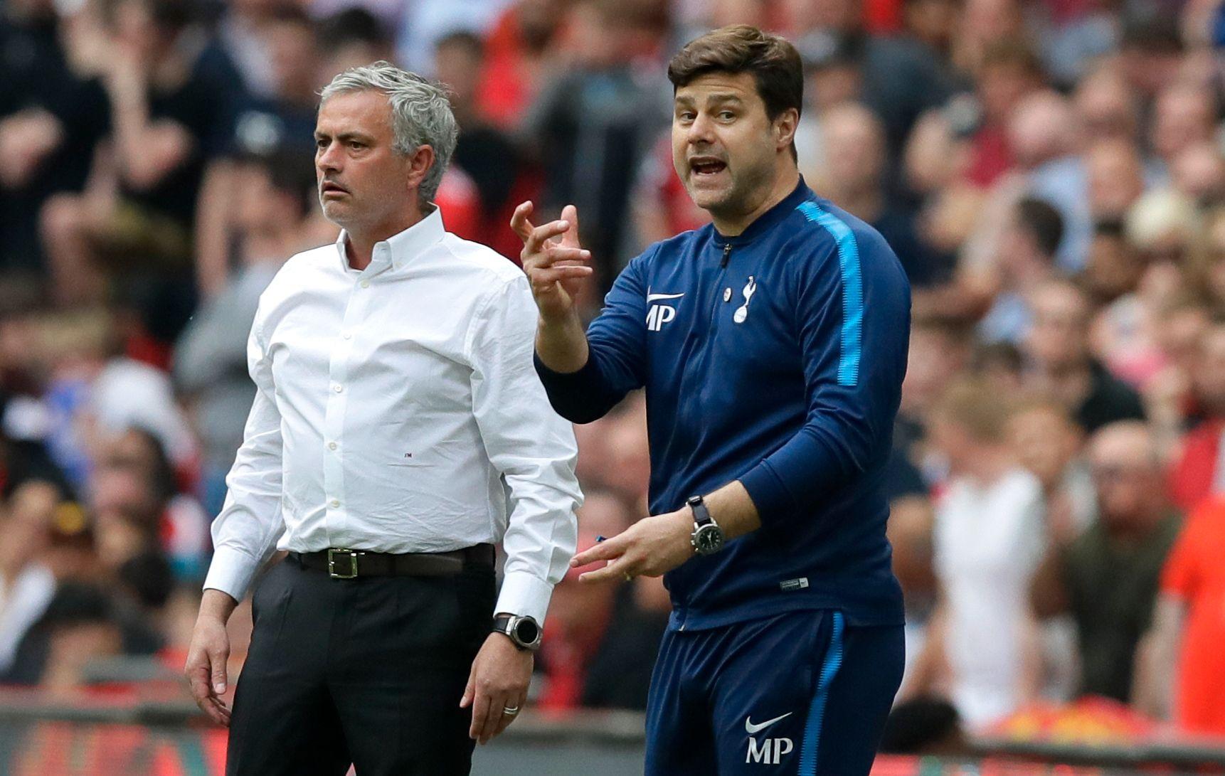 KAN BLI ARVTAGER: Mauricio Pochettino (t.h.) skal være Manchester Uniteds førsteprioritet som erstatter for José Mourinho på trenerbenken.