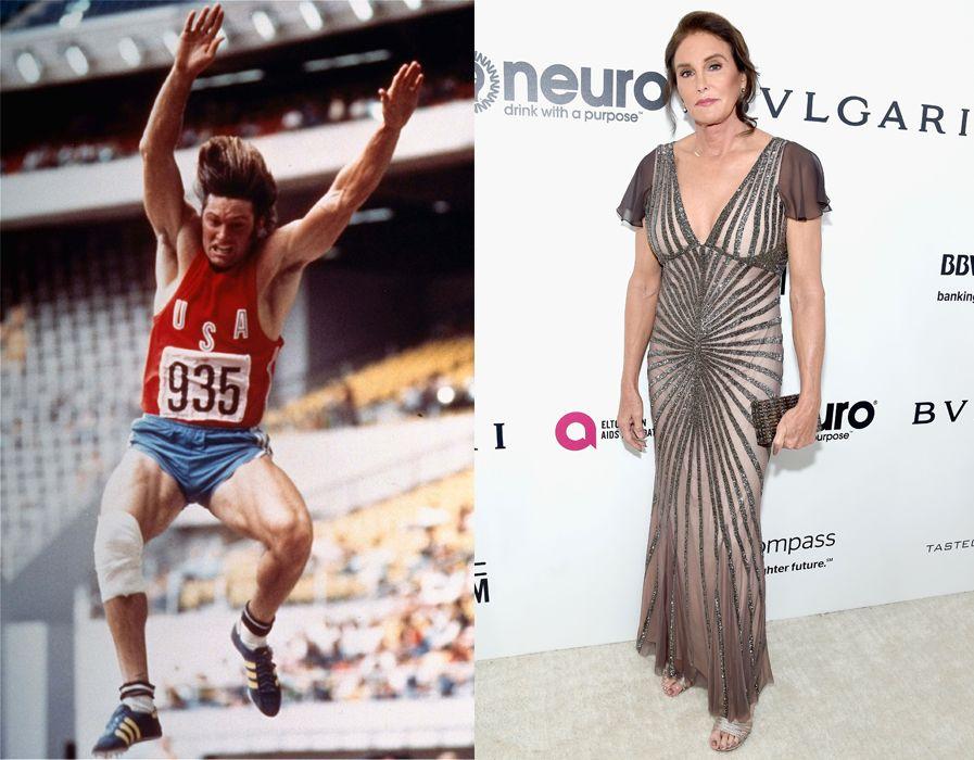 DA OG NÅ: Til venstre Bruce Jenner i aksjon i Montreal-OL i 1976, der han tar gull i tikamp, og til høyre Caitlyn Jenner på Elton Johns Oscarfest i West Hollywood i februar i år.