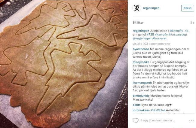 HUMOR? Det er bred uenighet på Instagram om hvorvidt regjeringens pepperkakepåfunn var morsomt eller ikke.