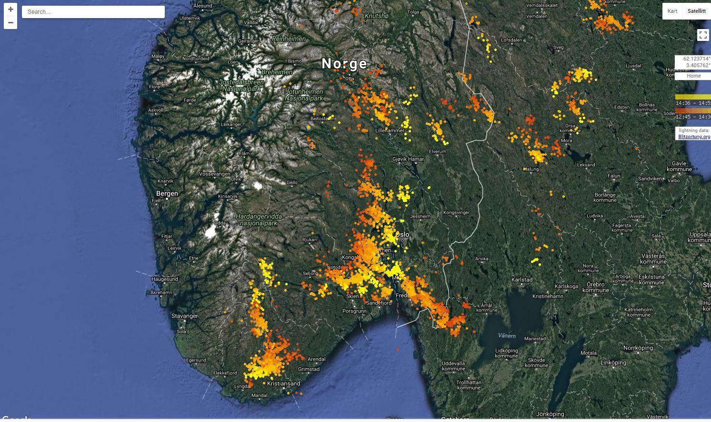 LYNNEDSLAG: Flere av brannene i Sør-Norge har oppstått som følge av lynnedslag.