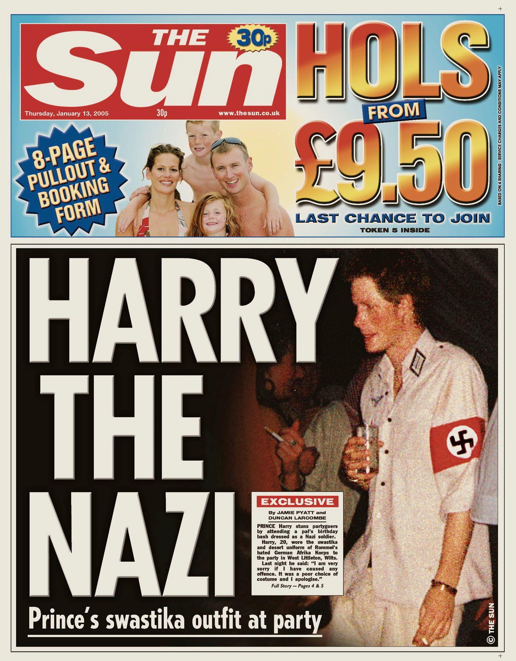FØRSTESIDESTOFF: 13. januar 2005 prydet prins Harry og hans Nazi-uniform forsiden av den britiske tabloidavisen The Sun.