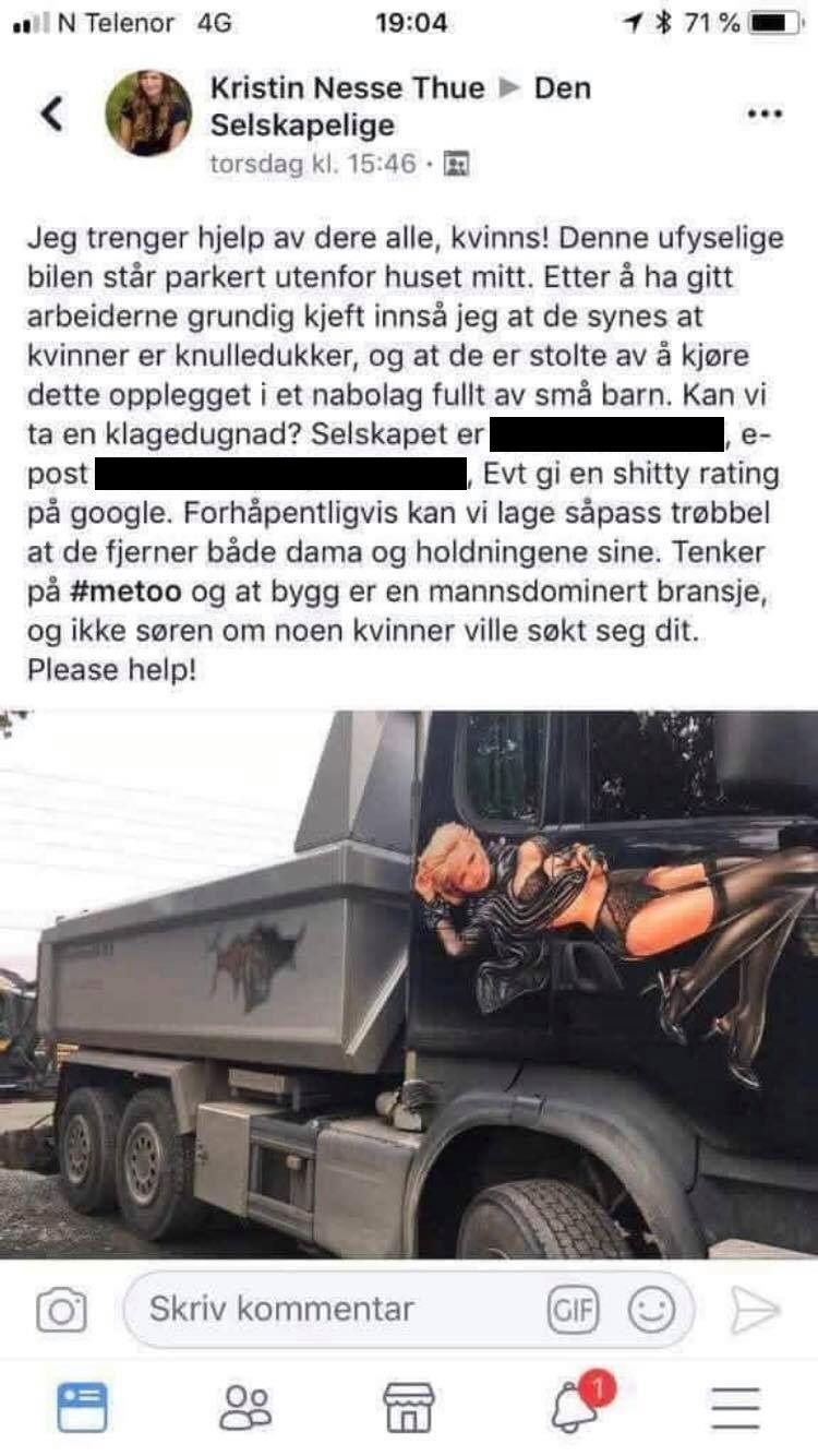 KRITISERTE LASTEBIL: Kristin Nesse Thue oppfordret andre til å bli med å klage til selskapet som er ansvarlig for lastebilen.