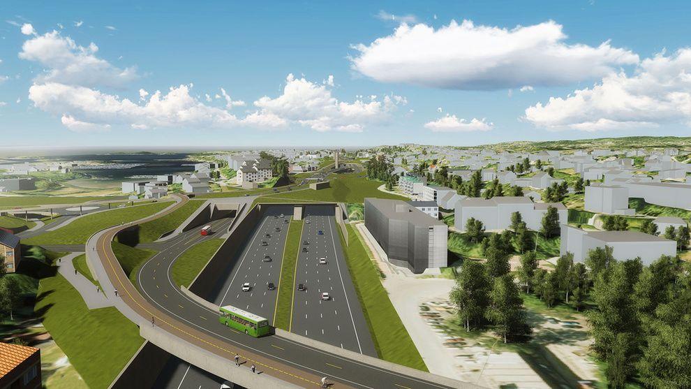 KOSTNADSØKNING I VEIEN: I en fersk rapport står det at store kostnadsoverskridelser kan sette flere av veiprosjektene i Nasjonal transportplan i fare. Illustrasjonen viser E18 fra Slependen til Drengsund.
