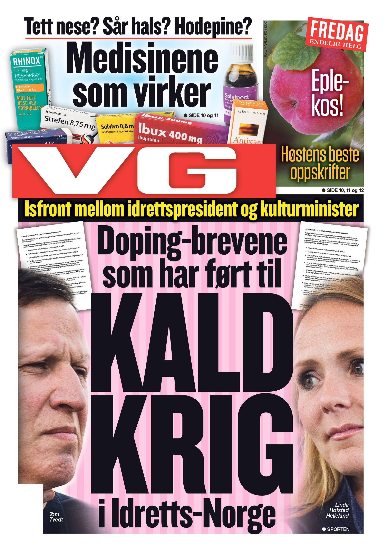 FAKSIMILE: VGs forside 23. september 2016.