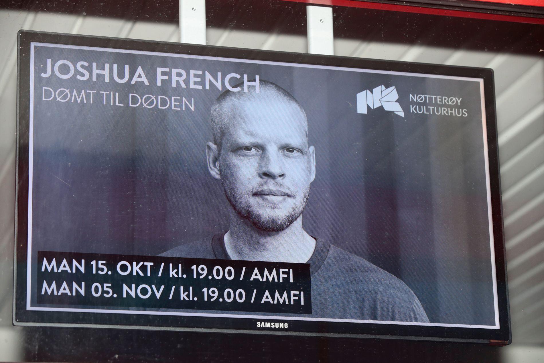 FOREDRAG: Joshua French holdt foredrag på Nøtterøy kulturhus mandag kveld.