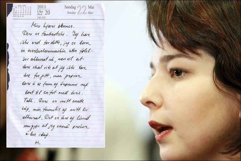 SKREV BREV: Maria Amalie forfattet brevet på Trandum fredag kveld. Les hele brevet i bunnen av saken. Foto: Scanpix/privat.