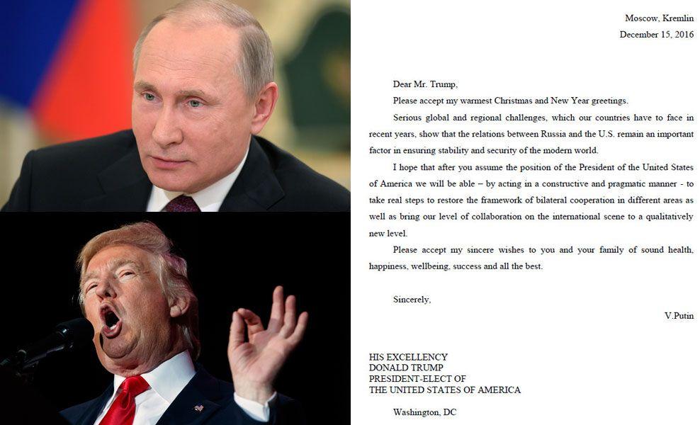 BREV FRA RUSSLAND: Donald Trump offentliggjorde lille julaften et brev han hadde fått fra Vladimir Putin.