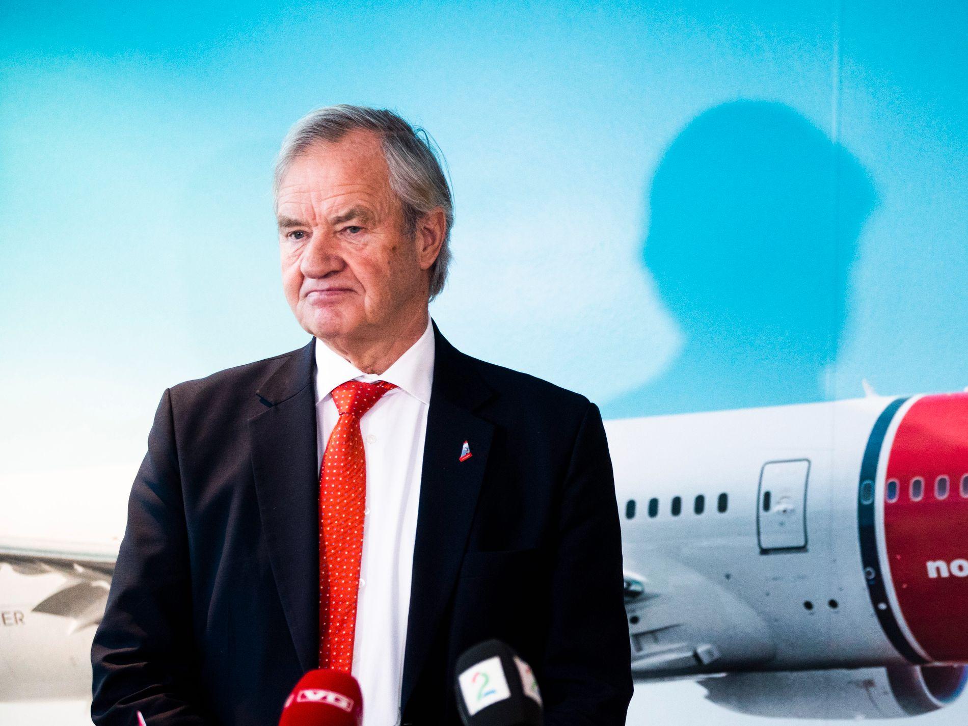 Bjørn Kjos på tirsdagens pressekonferanse da Norwegian varslet ny emisjon.