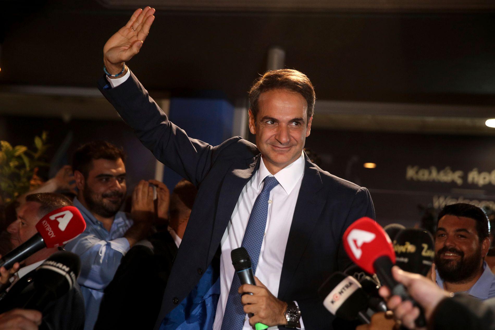 VALGVINNER: Lederen av det greske opposisjonspartiet Nytt demokrati, Kyriakos Mitsotakis, er etter alt å dømme landets nye statsminister.