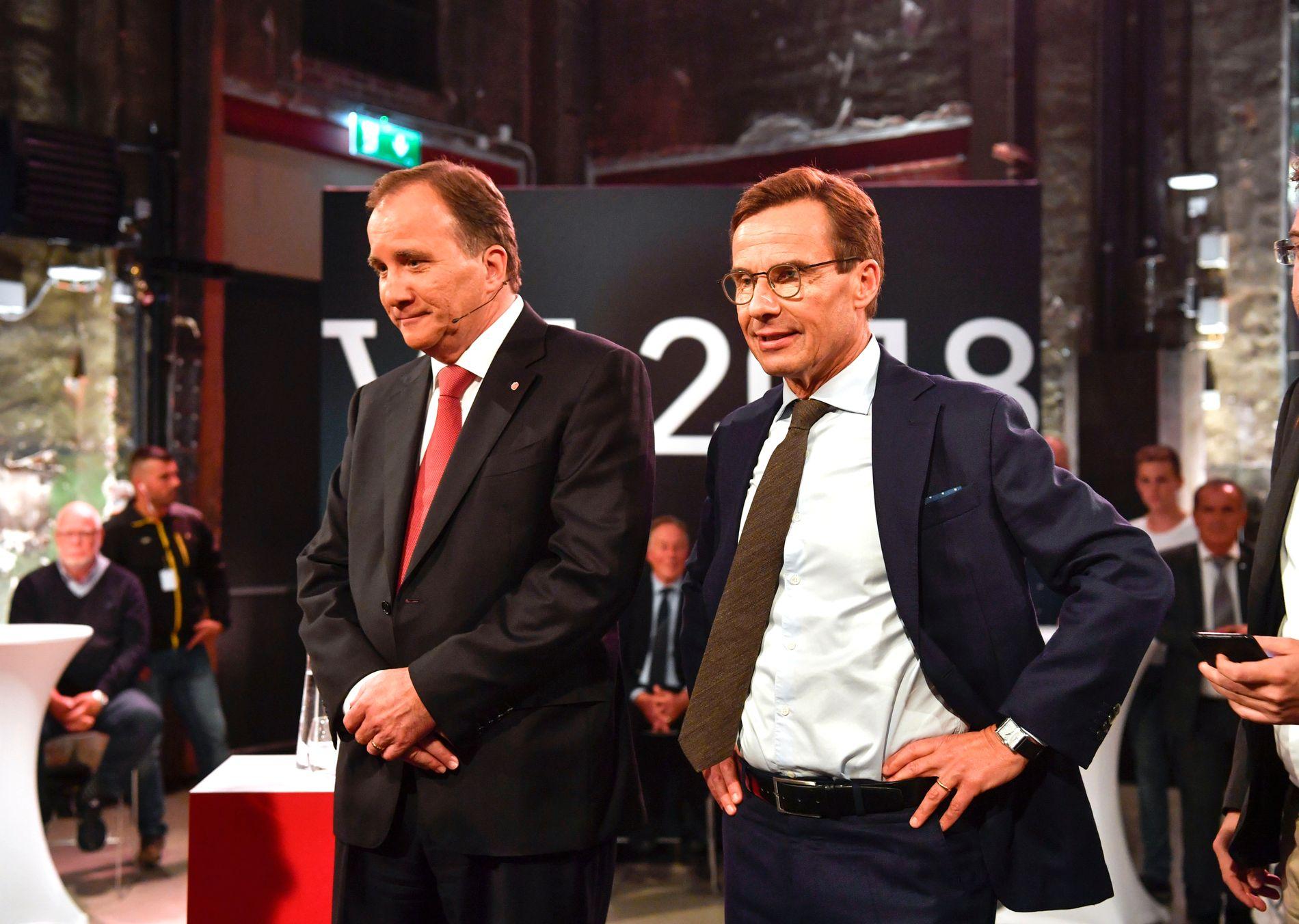 HVEM VINNER? Statsminister Stefan Löfven (til venstre) sammen med Moderaternas leder Ulf Kristersson i valgduell på svensk TV 31-august.