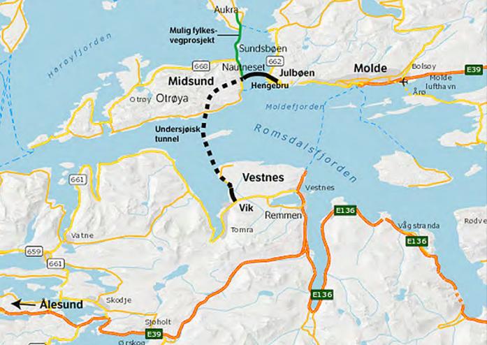 VEDTATT LØSNING: Slik fremstiller Statens vegvesen veiløsningen mellom Ålesund og Molde i en reguleringsplan fra 2014.