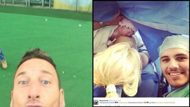 SELFIEBØLGE: Serie A-spillerne Francesco Totti og Mauro Icardi  går for utradisjonelle selfies.