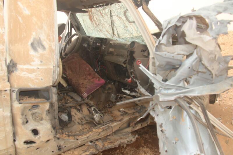 ØDELAGT: Dette bildet skal være tatt ved Tanf-basen dagen etter IS-angrepet ved Jordan/Irak/Syria-grensen og viser en bil IS brukte i angrepet.