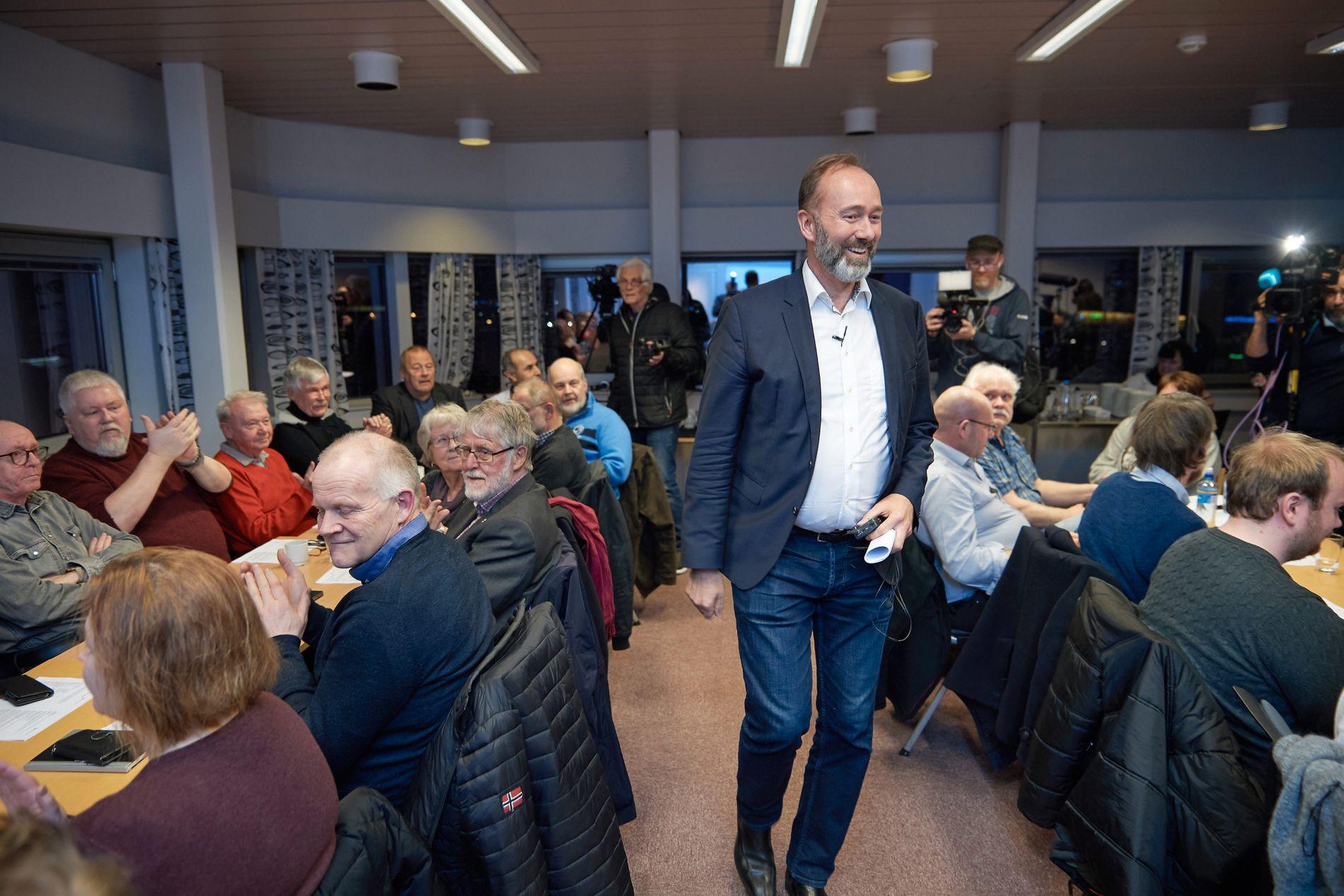 PÅ ÅRSMØTET: Trond Giske var på Steinkjer Aps årsmøte onsdag kveld for å holde den politiske innledningen.