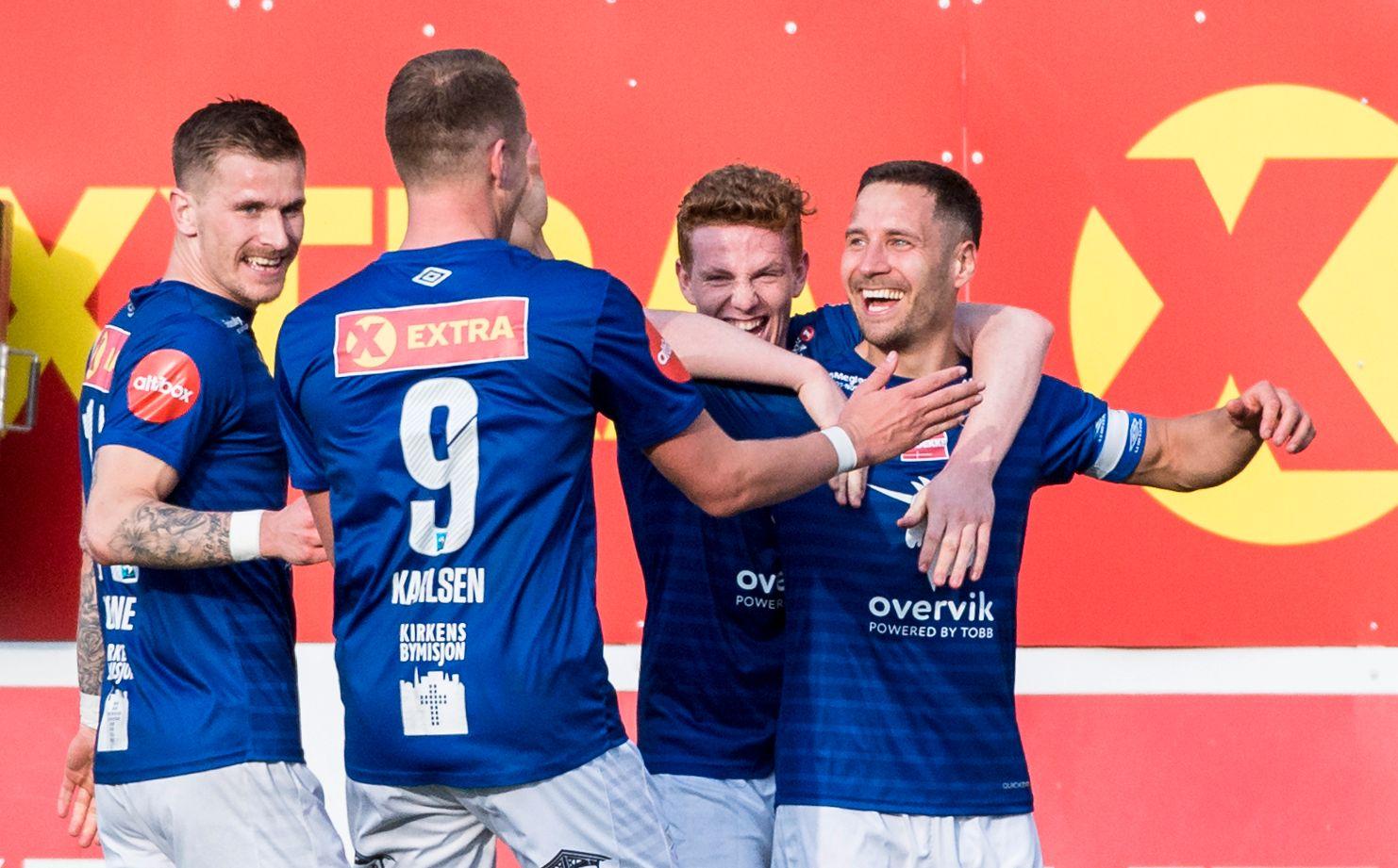 X-FAKTOR: Ranheims Mads Reginiussen (t.h.) blir gratulert med scoringen mot Odd i en seriekamp tidligere denne måneden.