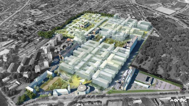 TETT: Slik kan nye sykehusbygg plasseres ved Ullevål Universitetssykehus. Nederst i fremre billedkant ligger det gamle tårnbygget like ved dagens hovedinngang.