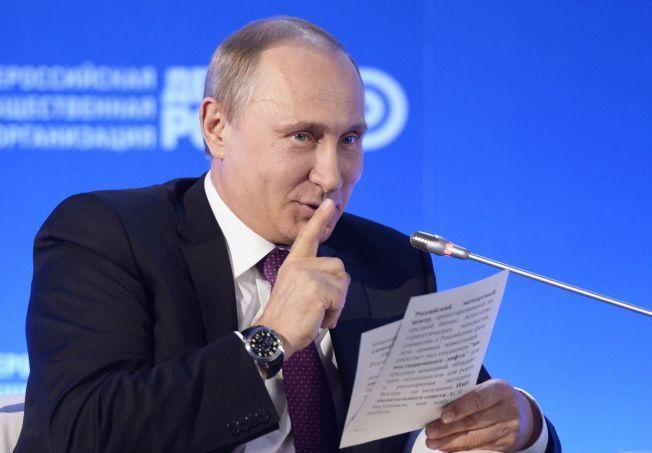 UT MED DERE: Russian President Vladimir Putin gestikulerte under en tale på arrangementet «Business Russia» i Moskva på tirsdag denne uken.