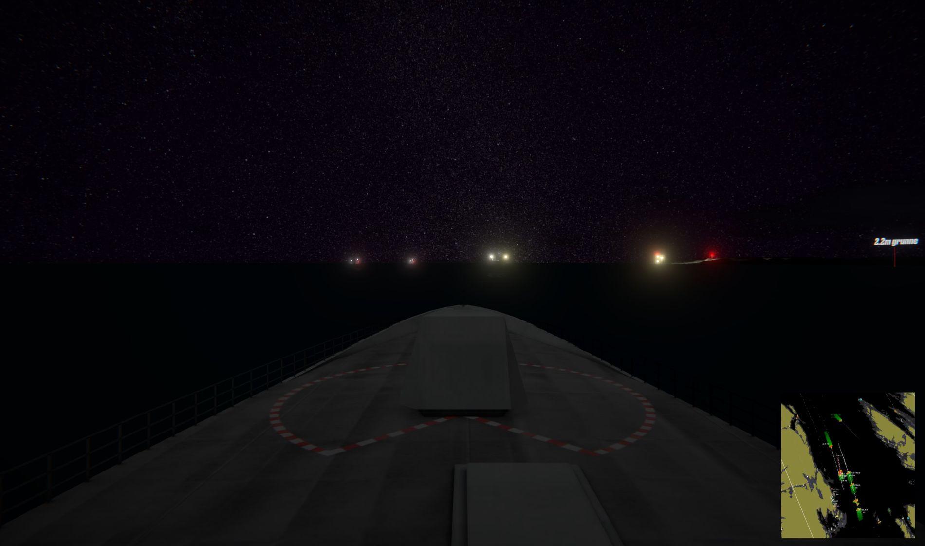 I MØRKET: VG har laget en 3D-modell av de siste kritiske minuttene før skipet krasjer. Dette bildet viser hvordan utsynet fra kommandobroen på «Helge Ingstad» kan ha vært. Der fremme ligger «Sola TS» med dekkslys på, med Stureterminalen til høyre i bildet.