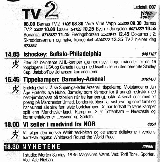 fd887635 FRA ARKIVET: Her er et utklipp fra VGs TV-program lørdag den 25. april  1998. Foto: VG-ARKIVET