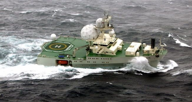 FORGJENGEREN: Dette er dagens «Marjata» under et tokt i Barentshavet. På folkemunne kalles hun ofte «Strykejernet». I den russiske marinen og etterretningstjensten har hun fått tilnavnet «Masha».