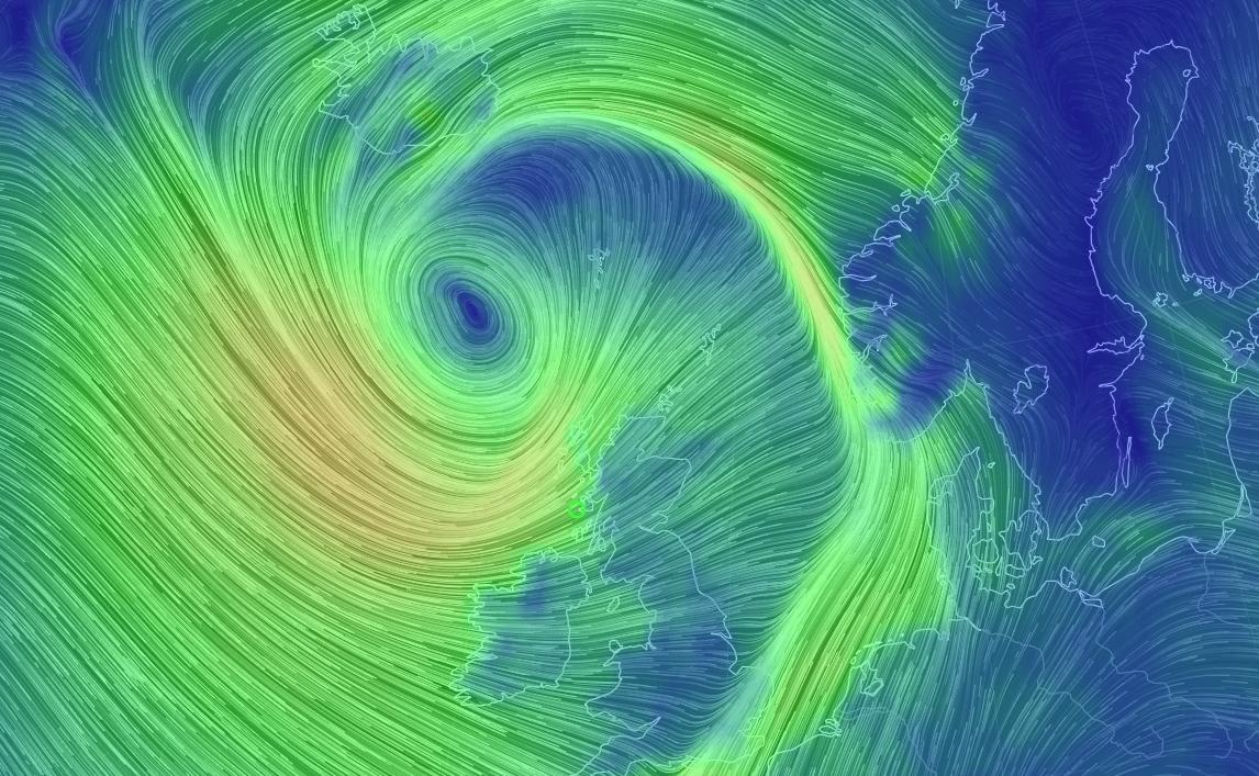 VOLDSOMT UVÆR: Slik blåste uværet «Gareth» over Storbritannia og Vestlandet i dag ved 1430-tiden. Uværet fortsetter med veldig snøfall på Østlandet og sterk vind i Nordland i morgen.