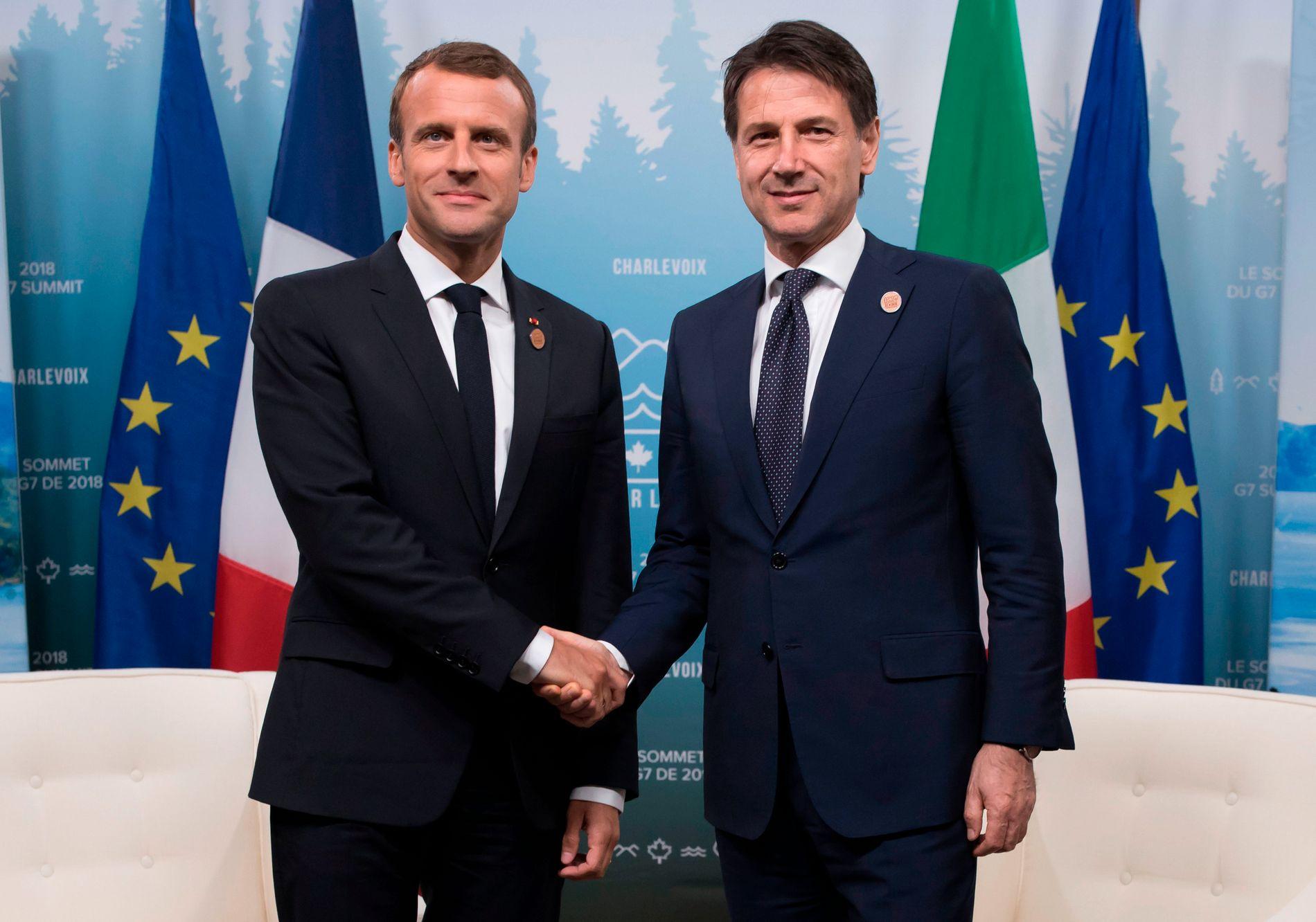 DIPLOMATIX: Frankrikes president Macron og Italias statsminister Conte er egentlig venner, selv om forholdet nå har gått litt surt.