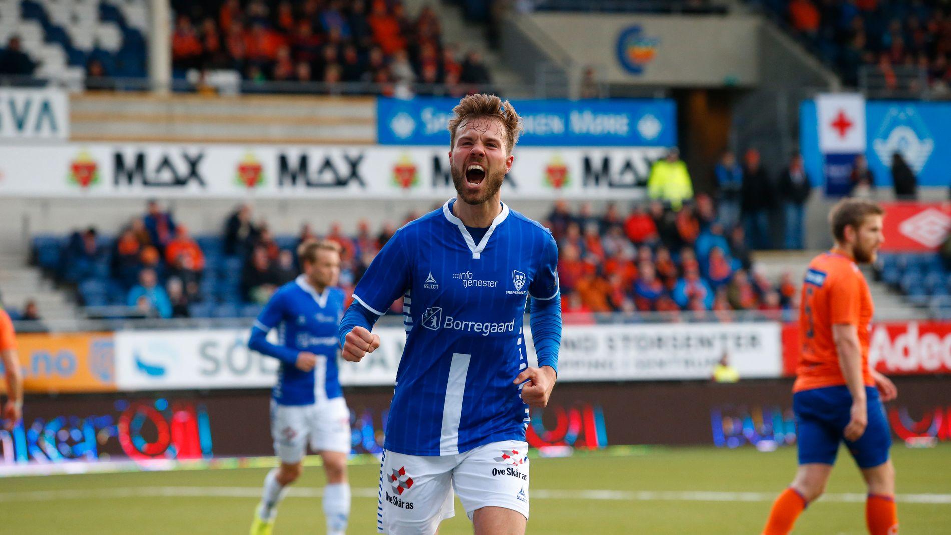 TOMÅLSSCORER: Patrick Mortensen kunne juble for to scoringer i 3-1-seieren mot Aalesund. Foto: Svein Ove Ekornesvåg / NTB scanpix