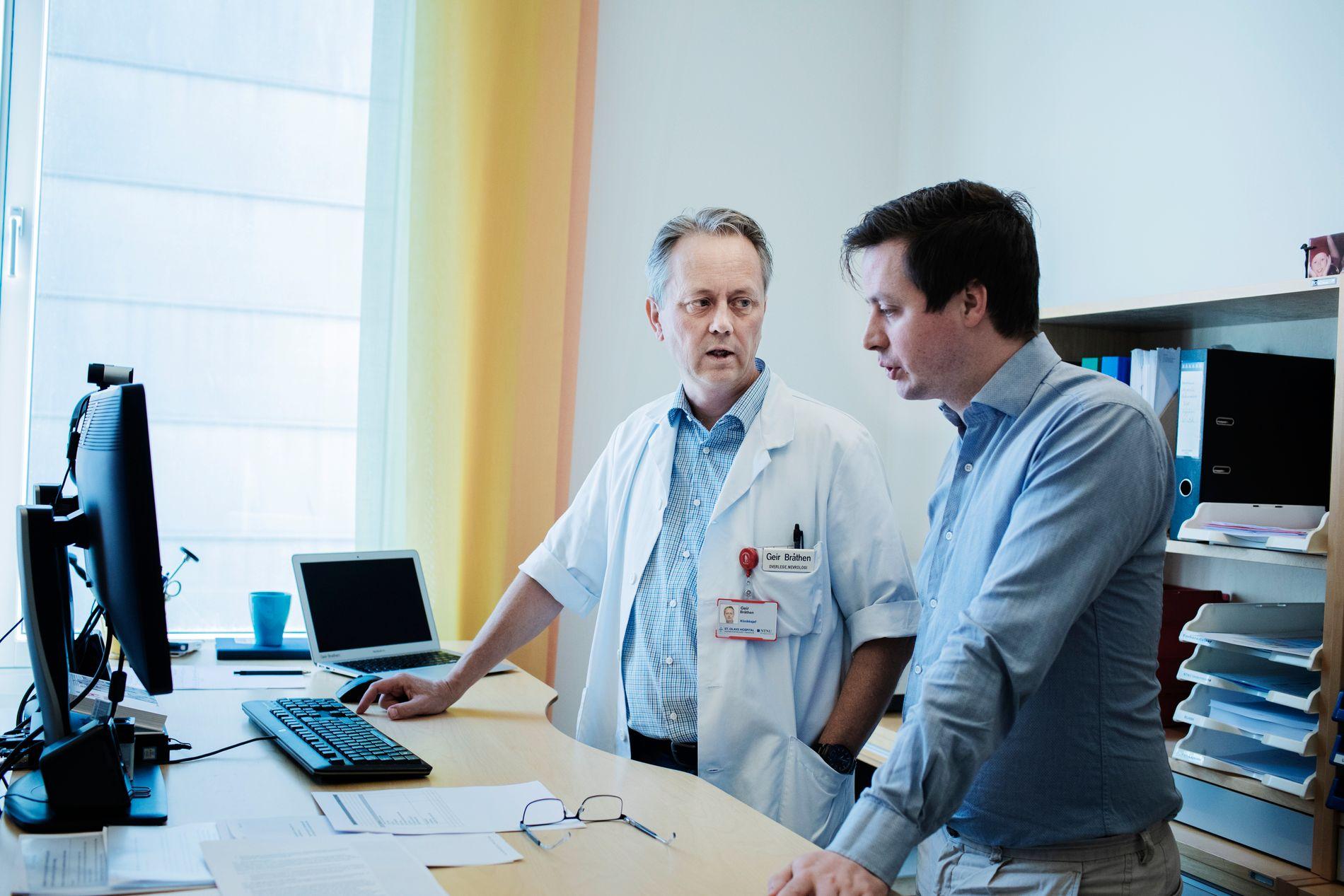 OPPGITT: Klinikksjef Geir Bråthen og lege Tore Wergeland Meisingset ved nevroklinikken på St. Olavs hospital har i tre år kjempet for å få på plass et nasjonalt ALS-register.