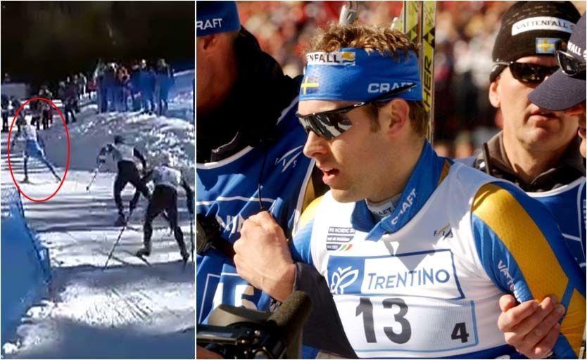 UTSLÅTT: Jörgen Brink gikk ut med 20 sekunders ledelse på Norge ut på siste etappe av VM-stafetten i 2003. 10 kilometer senere gikk han i mål til bronsemedalje etter en av skihistoriens mest spektakulære kollapser etter å ha blitt innhentet av Thomas Alsgaard og Axel Teichmann. I dag røper svensken at han ble rammet av hjerteflimmer under løpet. Foto: Skjermbilde (t.v.) med tillatelse fra NRK/AP Photo/Andrew Medichini