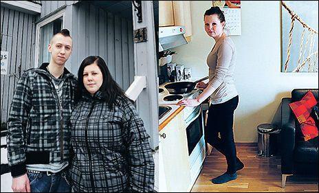 MÅ SELGE: Stine Ellingsen og Kjetil Jakobsen utenfor sin enebolig i Kristiansund. TIL HØYRE: Familien hjalp til da Frida Thyri kjøpte seg leilighet.