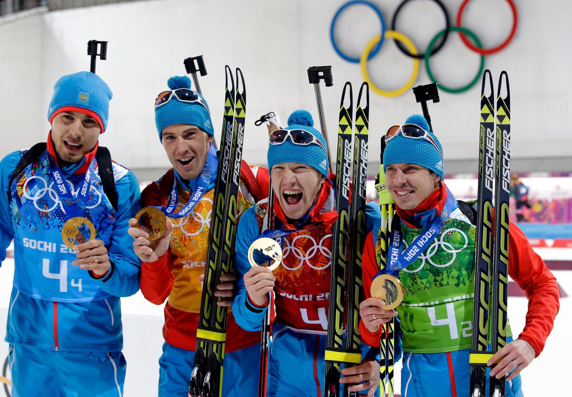 OL-GULL: Jevgenij Ustjugov (t.h.) var med på Russlands gullkvartett i OL i Sotsji. Nå er han mistenkt for doping. De tre andre er fra venstre Anton Shipulin, Dmitrij Malysjko og Aleksej Volkov.