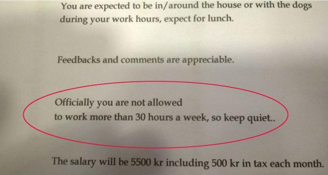SVART PÅ HVITT: «Offisielt har du ikke lov til å jobbe mer enn 30 timer i uken, så hold tett» advarer den norske vertsfamilien i arbeidsbeskrivelsen.