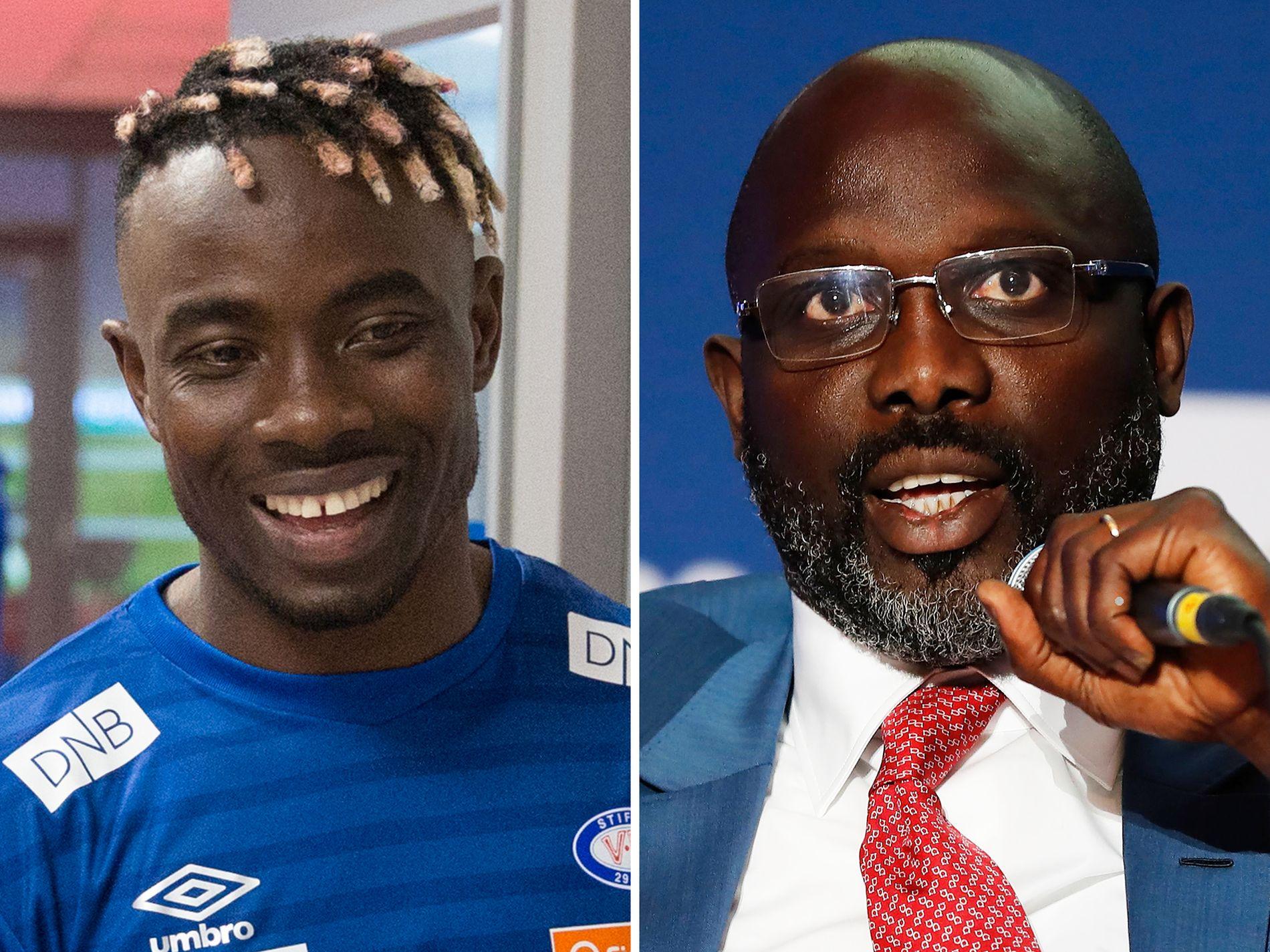HELTEN: Vålerenga-spiss Sam Johnson (t.v.) inspireres stort av landsmann George Weah. Fotballegenden er nå president i Liberia.