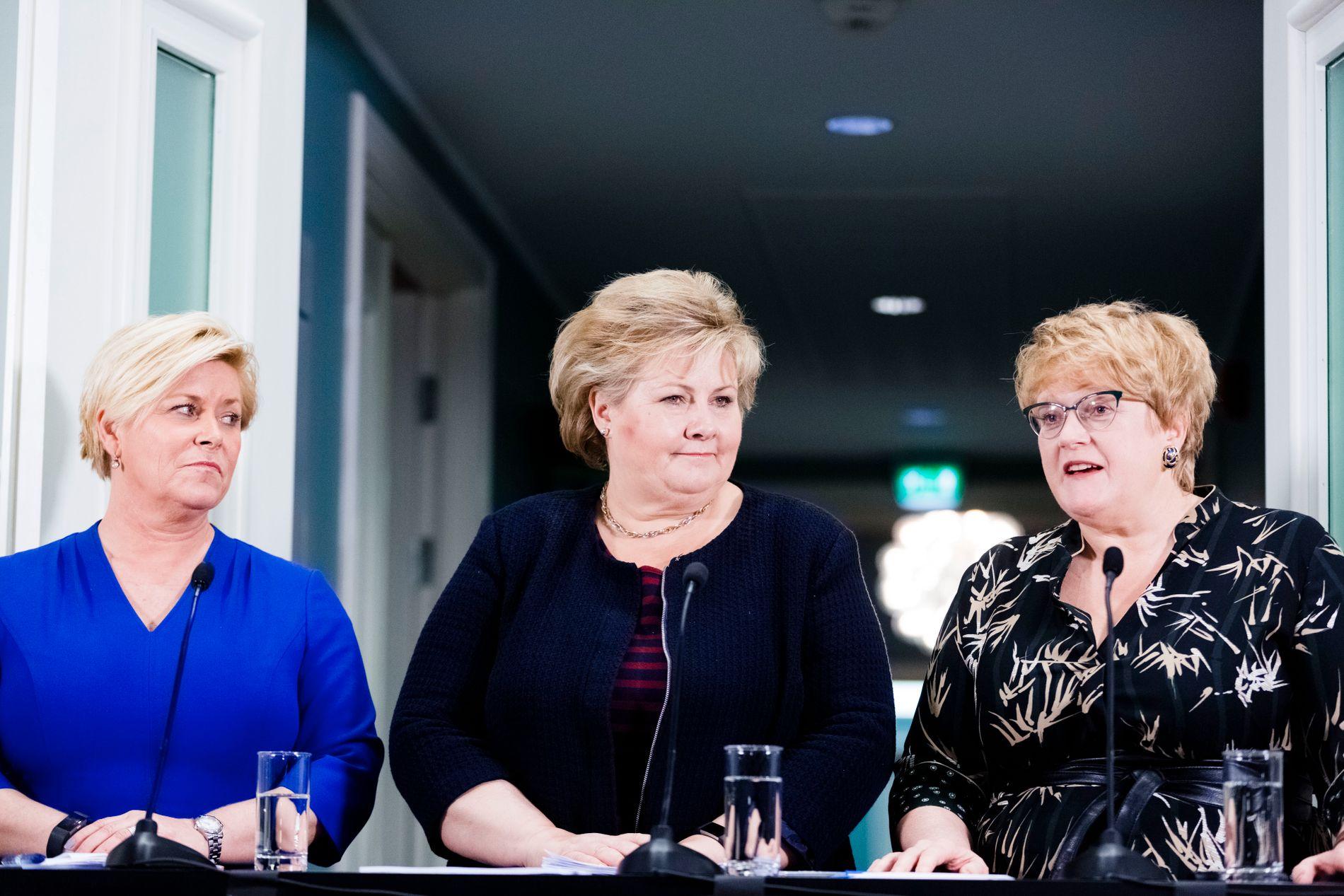 KVINNER PÅ TOPP: Norge gjør det ikke godt på Council on Foreign Relations' likestillingsliste, selv med finansminister Siv Jensen, statsminister Erna Solberg og kulturminister Trine Skei Grande på topp.