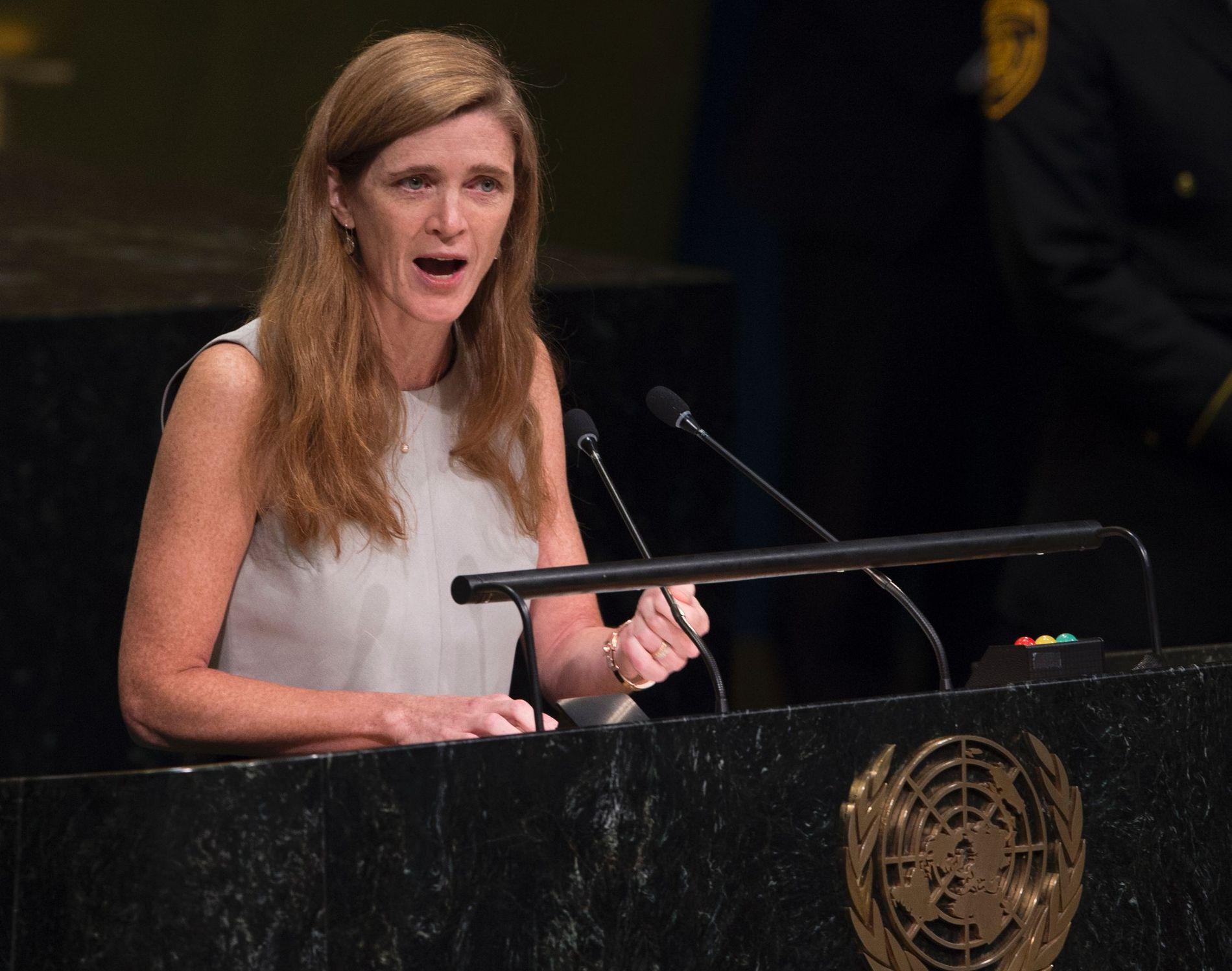 RASER: Samantha Power, USAs FN-ambassadør, skjelte ut Russland, Syria og Iran for handlingene deres i Aleppo. Dette bildet ble tatt for en måned siden i en annen sammenheng.
