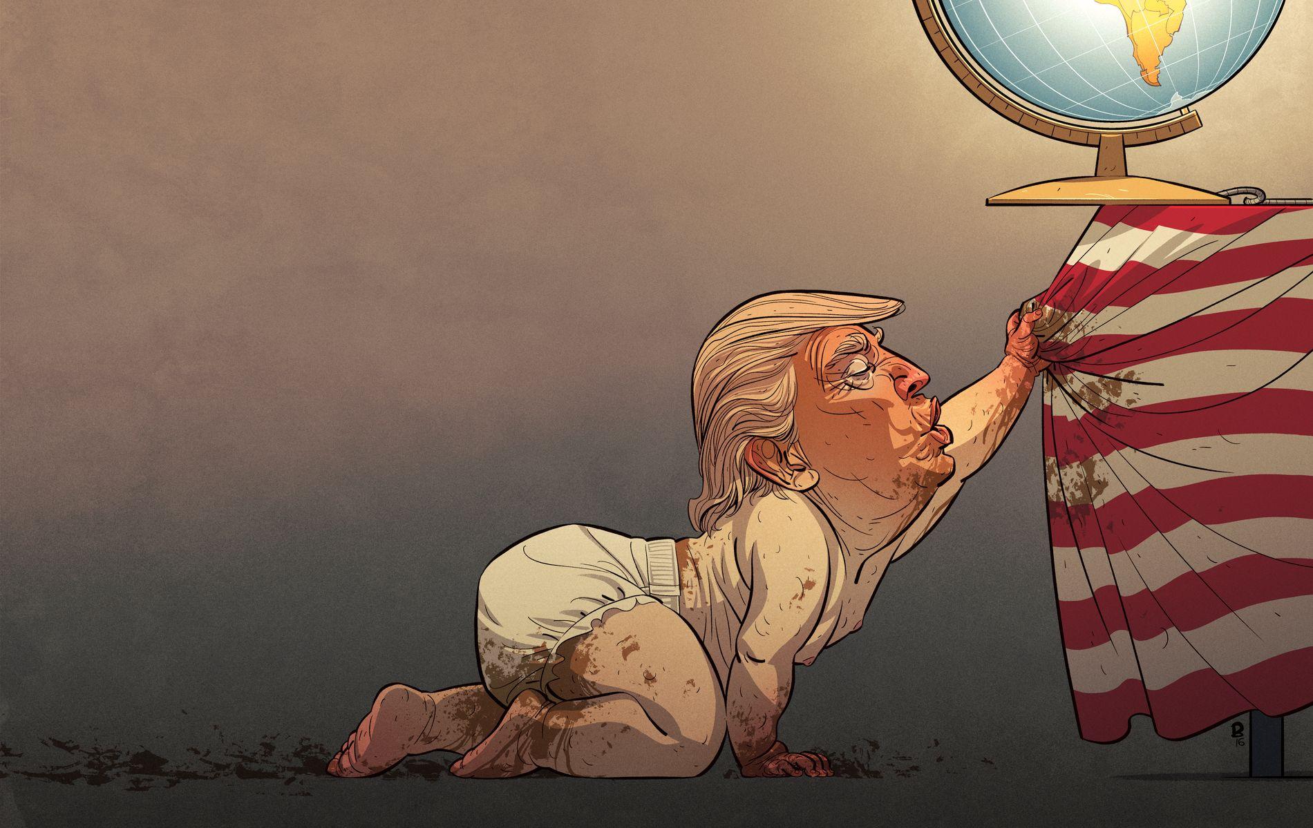 VANT PRIS: Christian Blooms tegning av Donald Trump ble tirsdag kåret til årets avistegning.