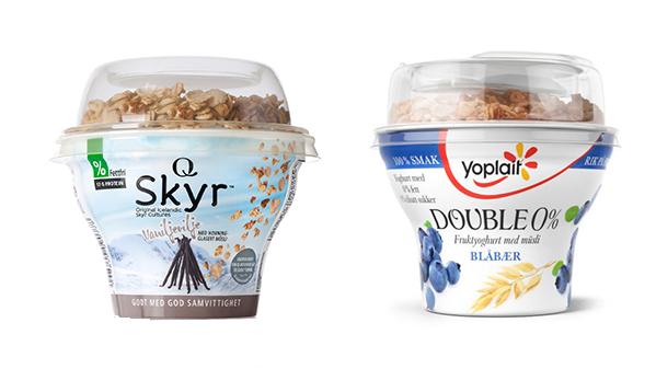 - FORSKJELLIG HELHETSINNTRYKK: Adminstrator i Byfogdembete mente kundene ikke kommer til å forveksle begrene, og ville ikke gå med på en midlertidig stans av salget av Double 0% yoghurten med müsli.