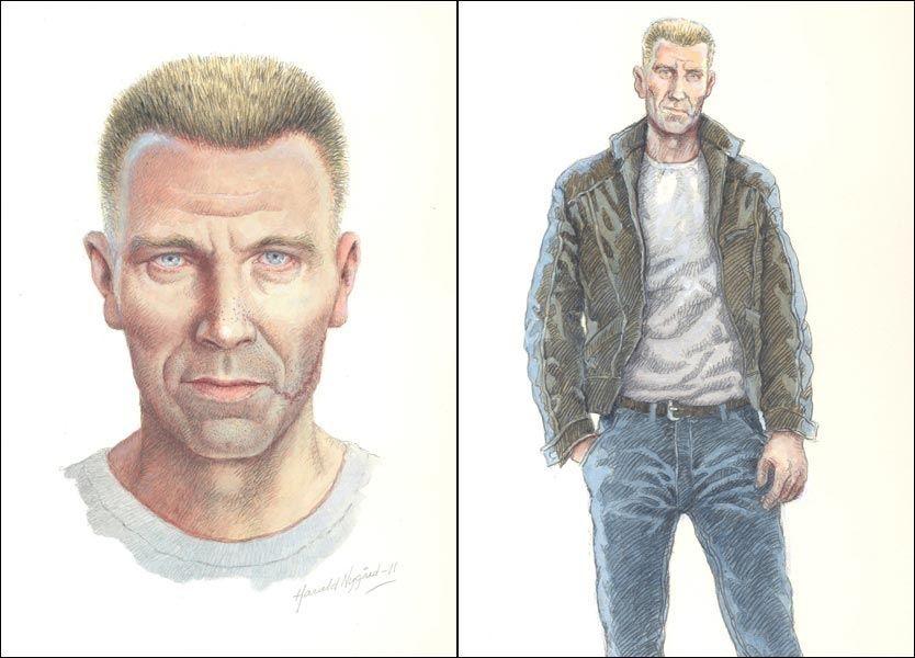 KRIMHELT: Dette er tegneren Harald Nygård sin versjon av den kjente krimhelten Harry Hole. TEGNING: Harald Nygård/VG