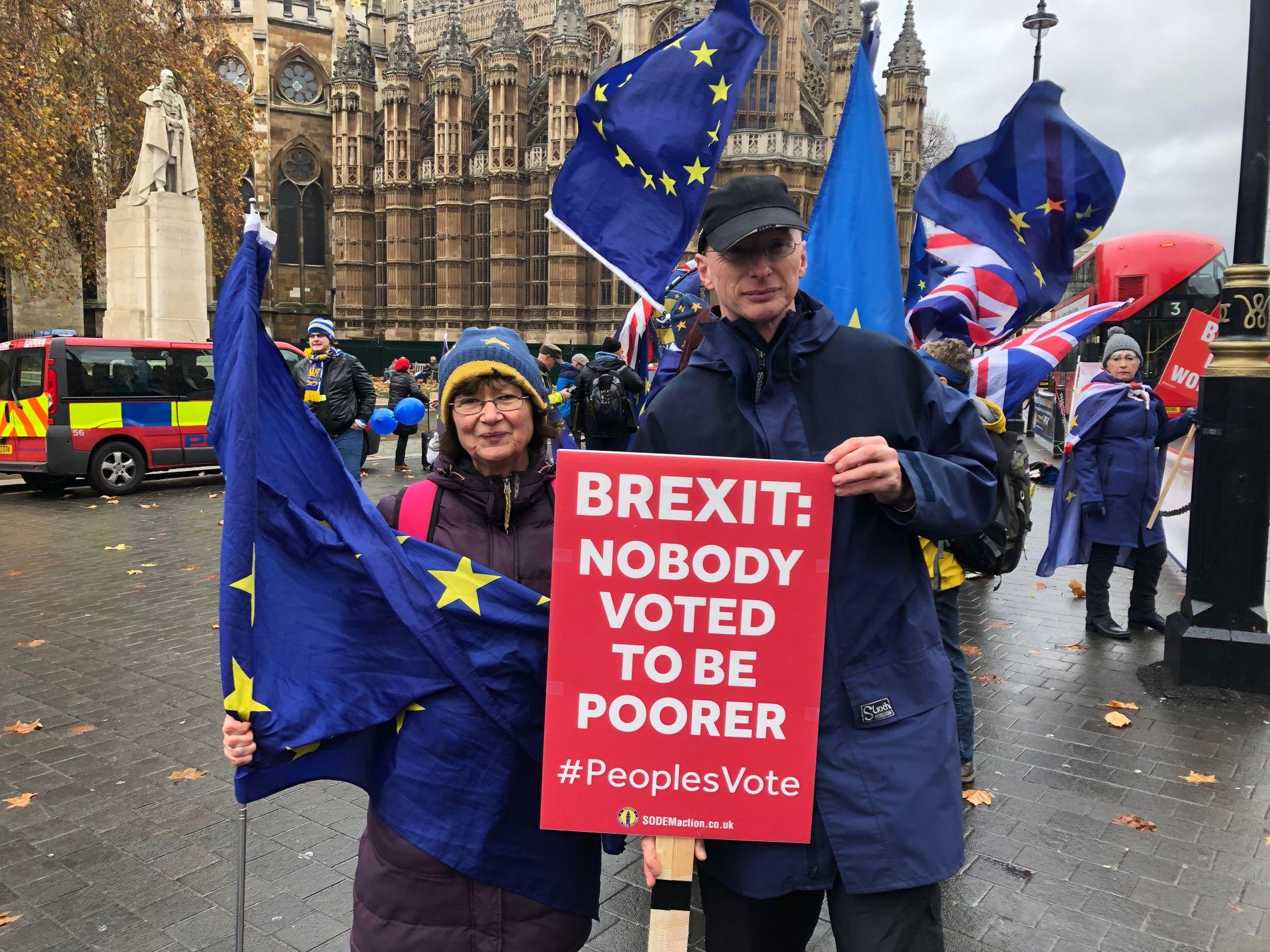 MISNØYE:  Frances Alexander og Nigel Spears viser sin misnøye med at Storbritannia skal bryte med EU, utenfor parlamentet i London onsdag ettermiddag.