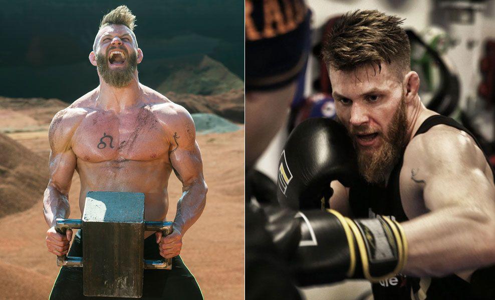 FEIRET UFC-KONTRAKT PÅ ISLAND: Emil Weber Meek er godt i gang med innspillingen av «Råskap» på TV3. På bildet til høyre trener 27-åringen på Frontline Academy i Oslo.
