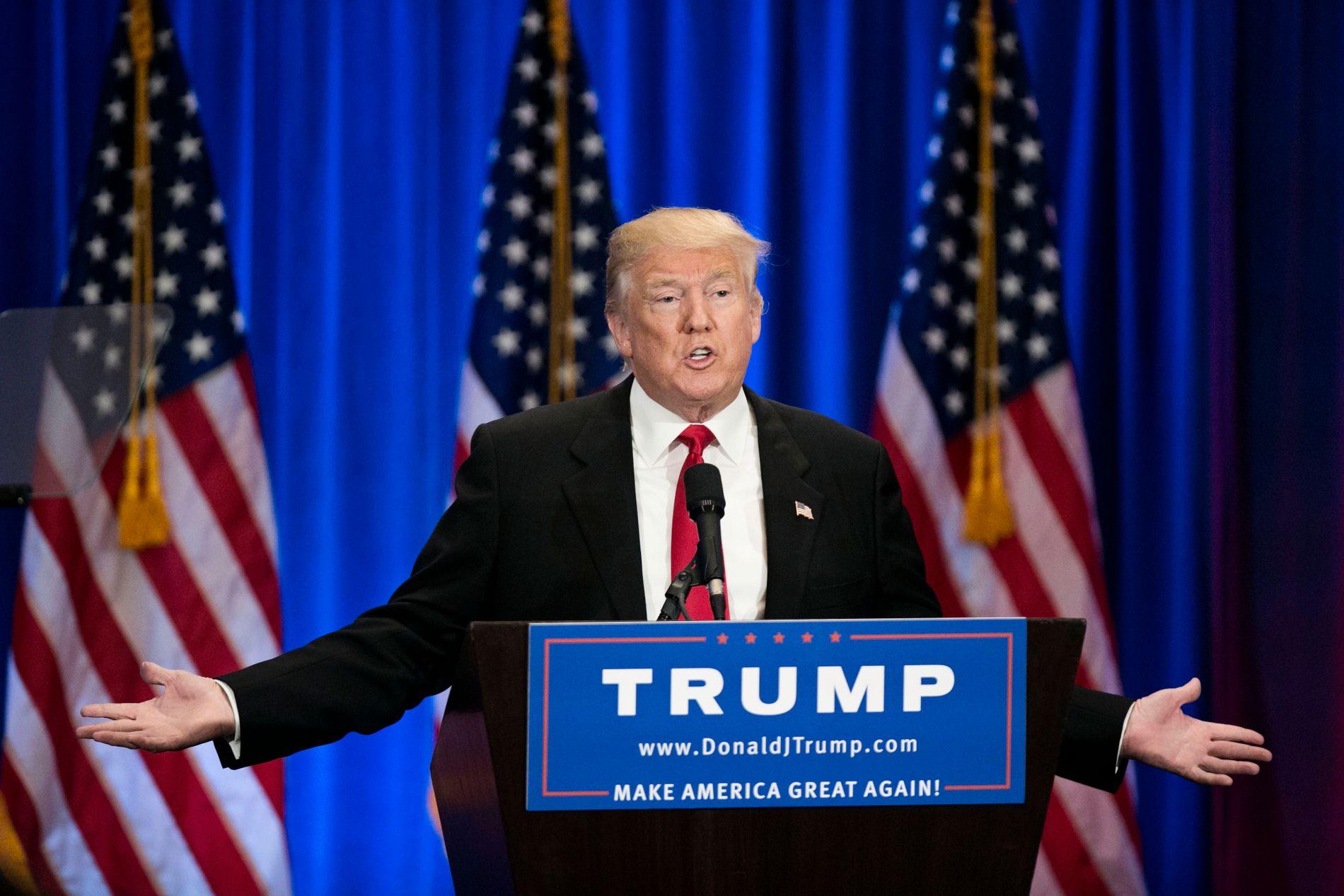 SENDTE UT SPØRRESKJEMA: Neste uke møter Republikanernes presidentkandidat Donald Trump Demokratenes Hillary Clinton til TV-sendt debatt. I forkant har han sendt ut et spørreskjema til sine tilhengere.
