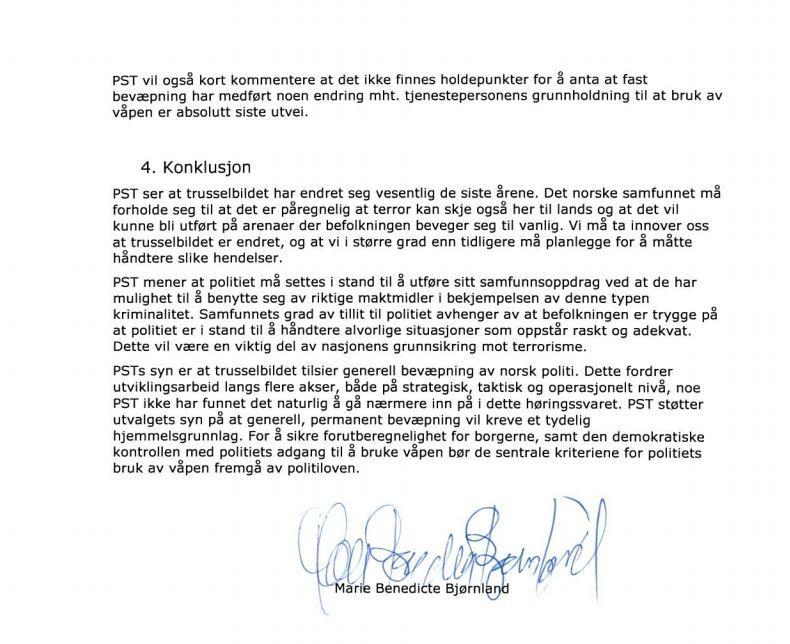 HØRINGSSVAR: Slik konkluderer PST i sitt svar til bevæpningsutvalgets utredning.