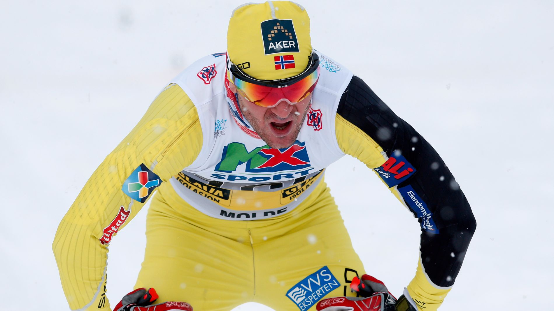 FORTELLER OM MEDISINBRUKEN: Øystein Pettersen var en del av sprintlandslaget ut 2013/14-sesongen. Her er han avbildet etter 15 kilometeren i NM på Lillehammer i januar 2014.