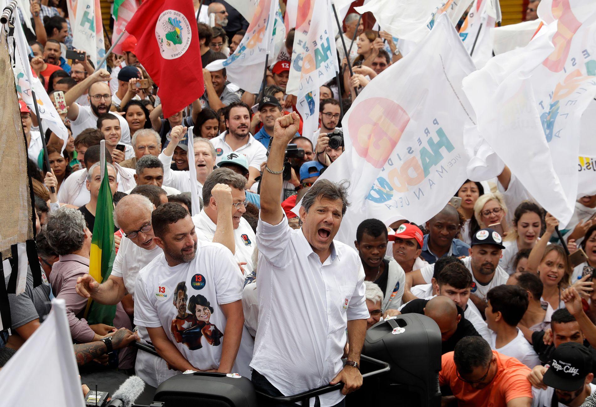 KANDIDAT: Fernando Haddad ser ut til å tape presidentvalget mor Jair Bolsonaro, til tross for at meningsmålingene viser at Haddad øker oppslutningen.