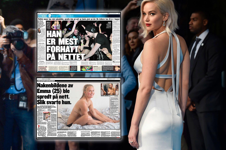 HEVNPORNO: «Hunger Games»-stjernen Jennifer Lawrence og danske Emma Holten (innfelt) fikk nakenbilder av seg selv spredt. Kevin Bollaert (innfelt) skal være den første som ble dømt til fengsel for hevnporno i USA.