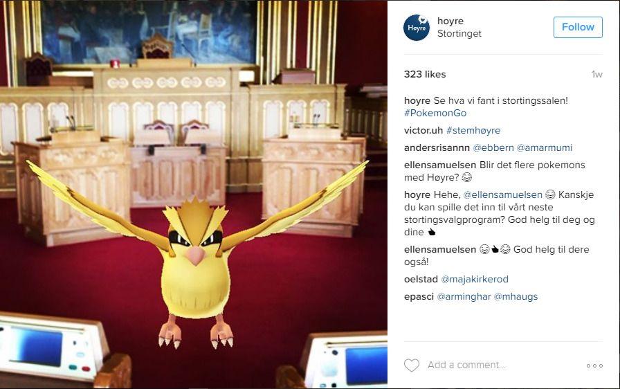 PIDGEY PÅ TINGET: Dette bildet fra Høyres egen Instagram-profil viser at også Høyre jakter på de digitale monstrene i selveste stortingssalen. Den avbildede pokémonen er en Pidgey.