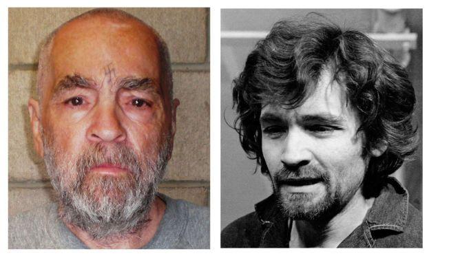 LIVSTID: En ung Charles Manson (t.h.) på vei til rettssalen i 1970. Til venstre slik han så ut som 74-åring i 2009, i Corcoran State Prison i California.