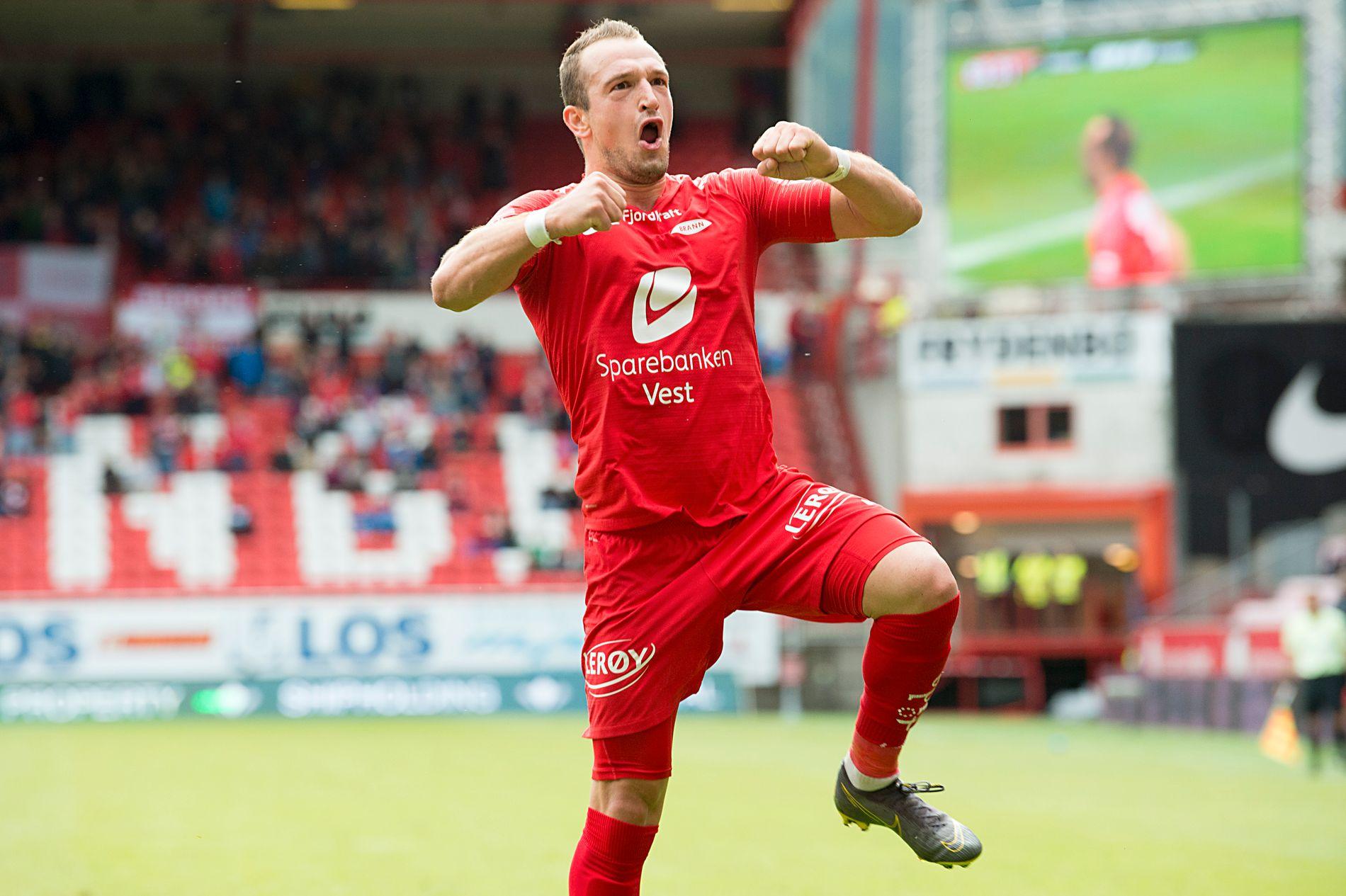 MÅLJUBEL: Veton Berisha satt Branns andre mål mot Stabæk.