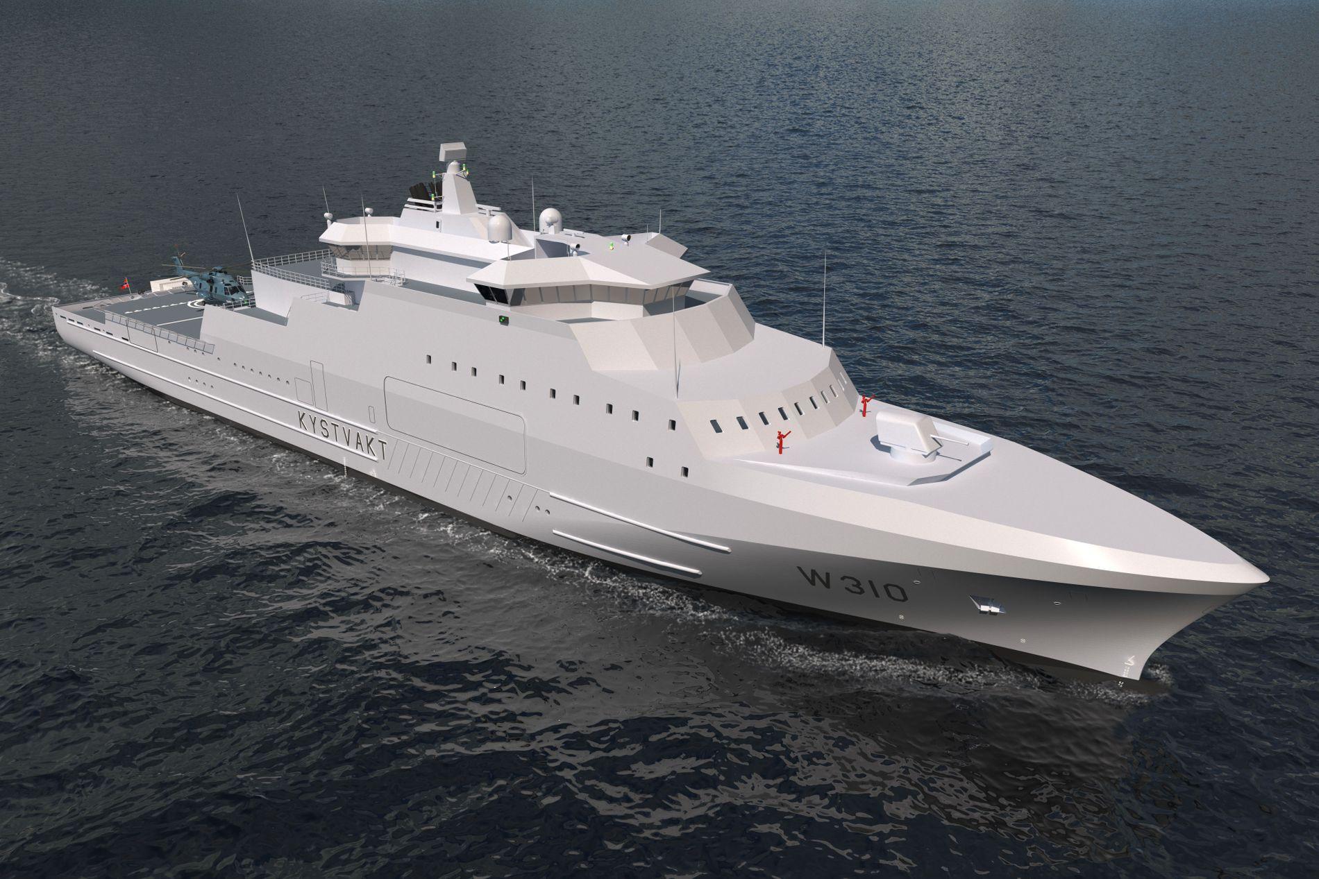 BYGGER NYTT: Kystvakten skal få tre slike fartøyer fra 2023. Nå vurderer Forsvaret om en fregatt-erstatning kan bygges over det samme skroget.